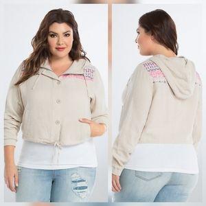 Torrid Embroidered Crop Jacket
